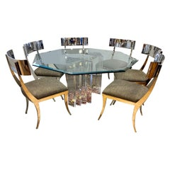 Charles Hollis Jones Lucite Skyscraper Dining Set with Six Klismos Chairs
