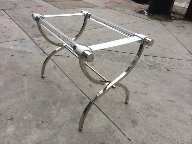 Charles Hollis Jones Luggage Rack or Tray in Lucite and Nickel For Sale 3
