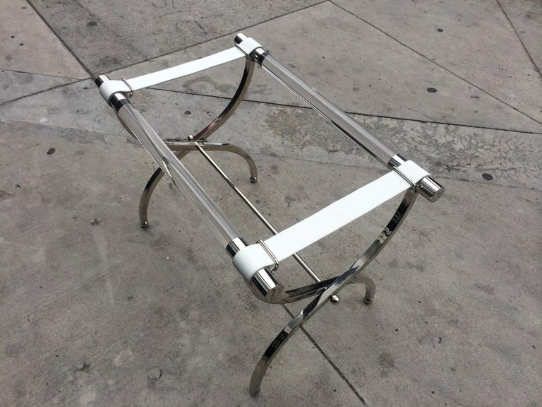 Charles Hollis Jones Luggage Rack or Tray in Lucite and Nickel For Sale 4