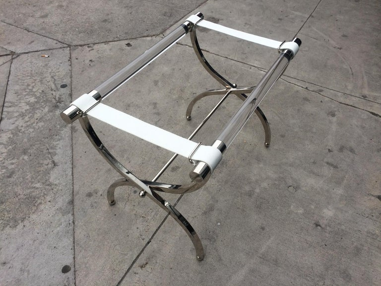 Charles Hollis Jones Luggage Rack or Tray in Lucite and Nickel For Sale 5
