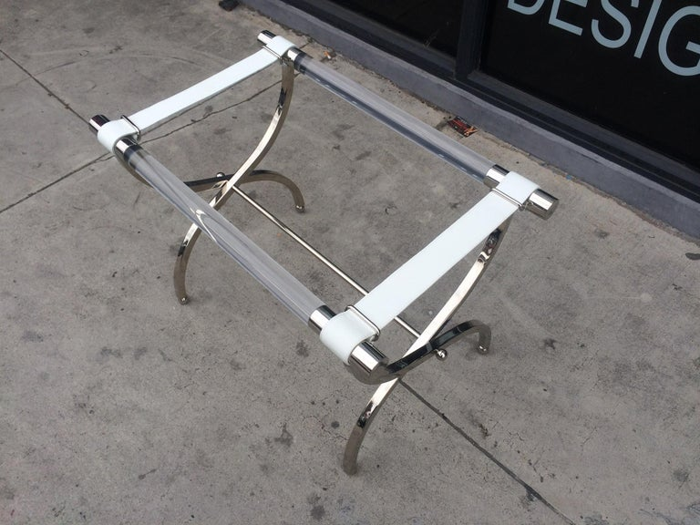 Charles Hollis Jones Luggage Rack or Tray in Lucite and Nickel For Sale 6