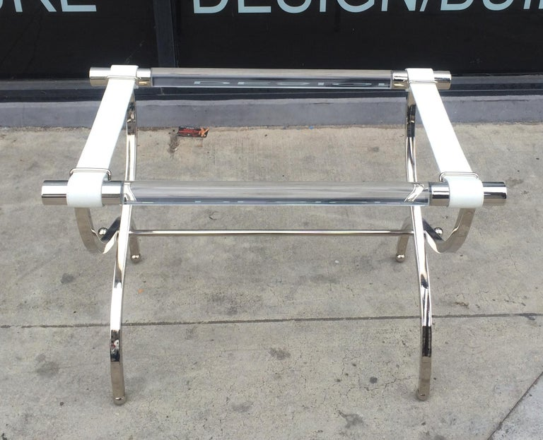 Mid-Century Modern Charles Hollis Jones Luggage Rack or Tray in Lucite and Nickel For Sale