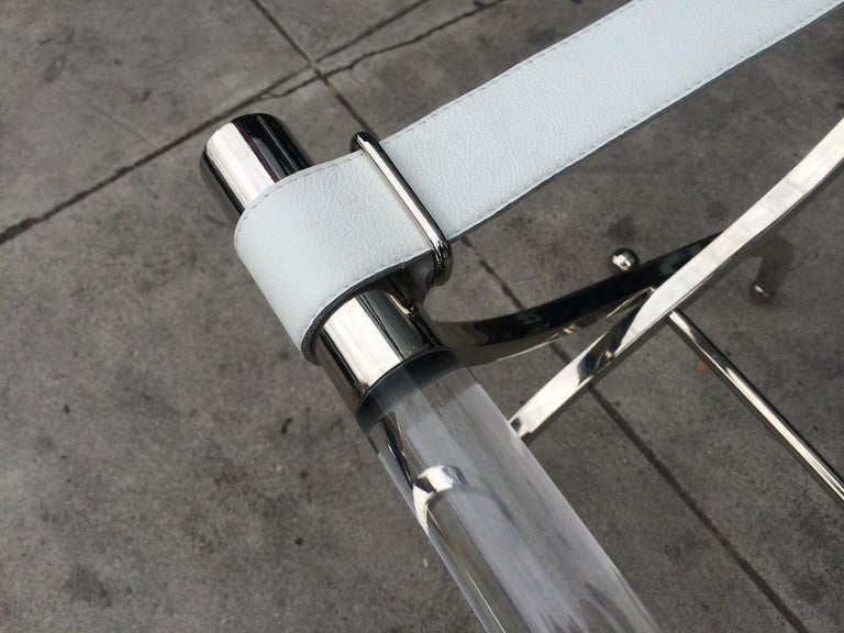 American Charles Hollis Jones Luggage Rack or Tray in Lucite and Nickel For Sale