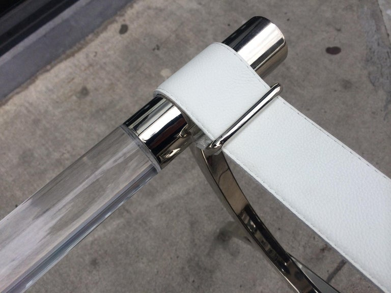 Charles Hollis Jones Luggage Rack or Tray in Lucite and Nickel In Excellent Condition For Sale In West Hollywood, CA