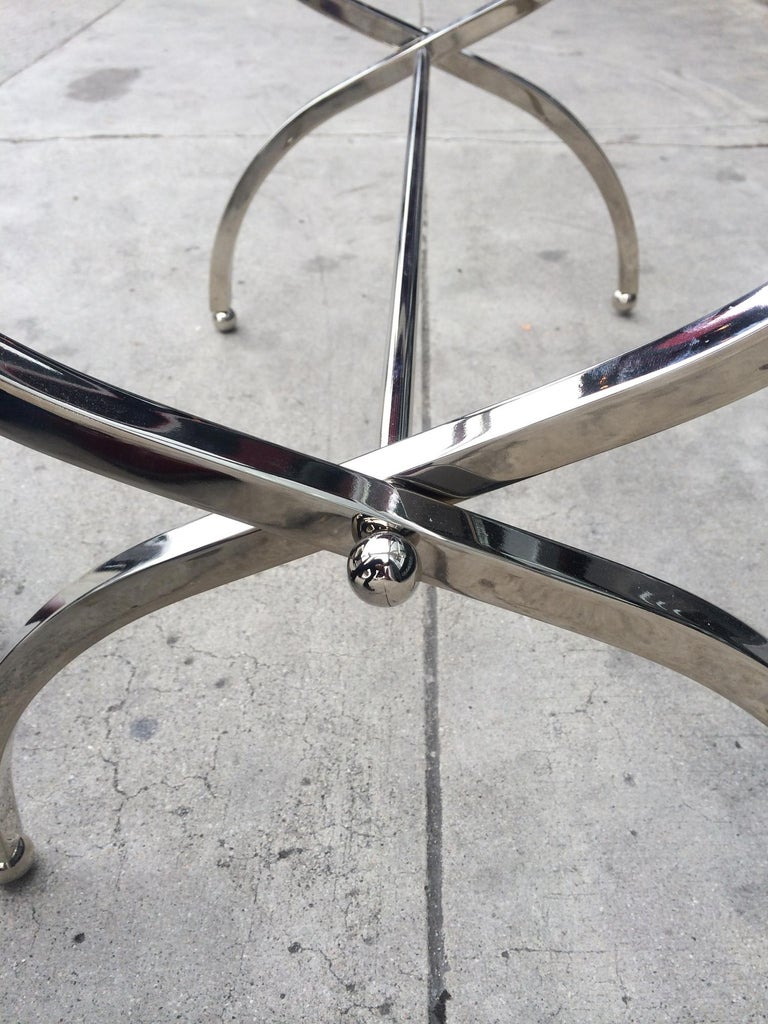 Leather Charles Hollis Jones Luggage Rack or Tray in Lucite and Nickel For Sale