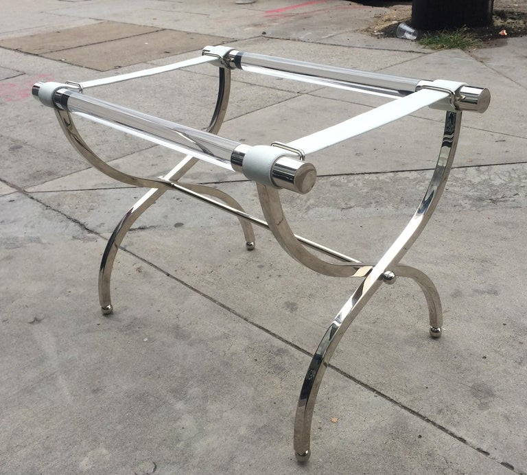 Charles Hollis Jones Luggage Rack or Tray in Lucite and Nickel For Sale 1