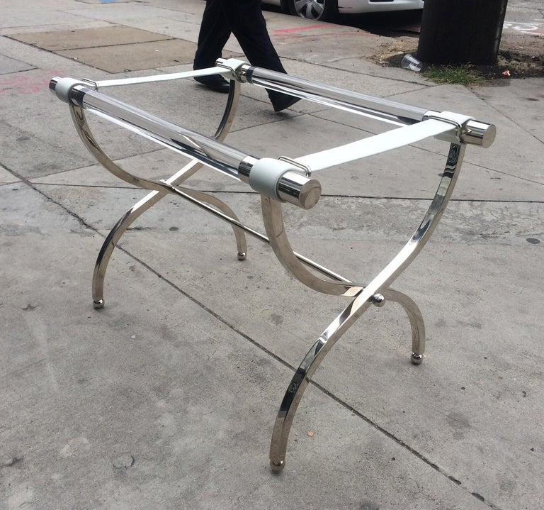 Charles Hollis Jones Luggage Rack or Tray in Lucite and Nickel For Sale 2