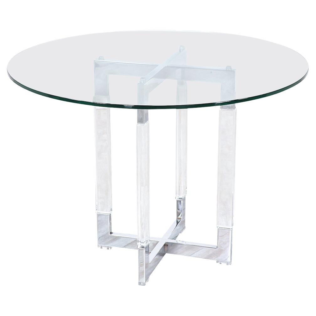 """Charles Hollis Jones """"Metric"""" Chrome and Lucite Dining Table"""
