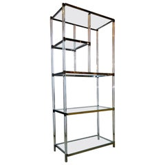 "Charles Hollis Jones ""Metric"" Line Fused Lucite w/ Nickel Accent 5 Shelf Étagère"