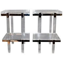 "Charles Hollis Jones ""Metric"" Line Side Tables Signed"