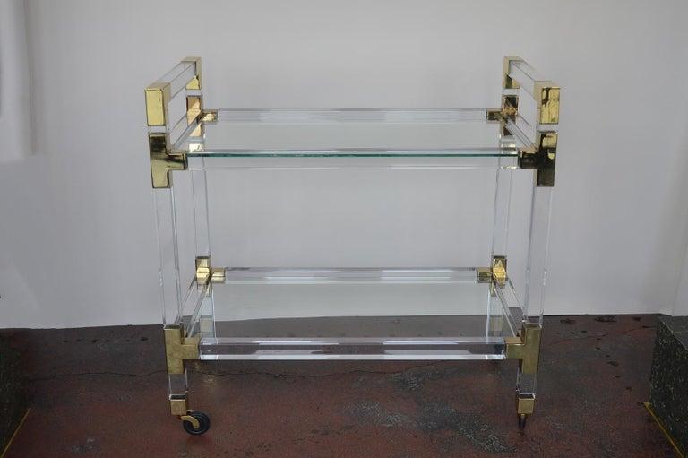 Charles Hollis Jones metric Lucite and brass bar cart.