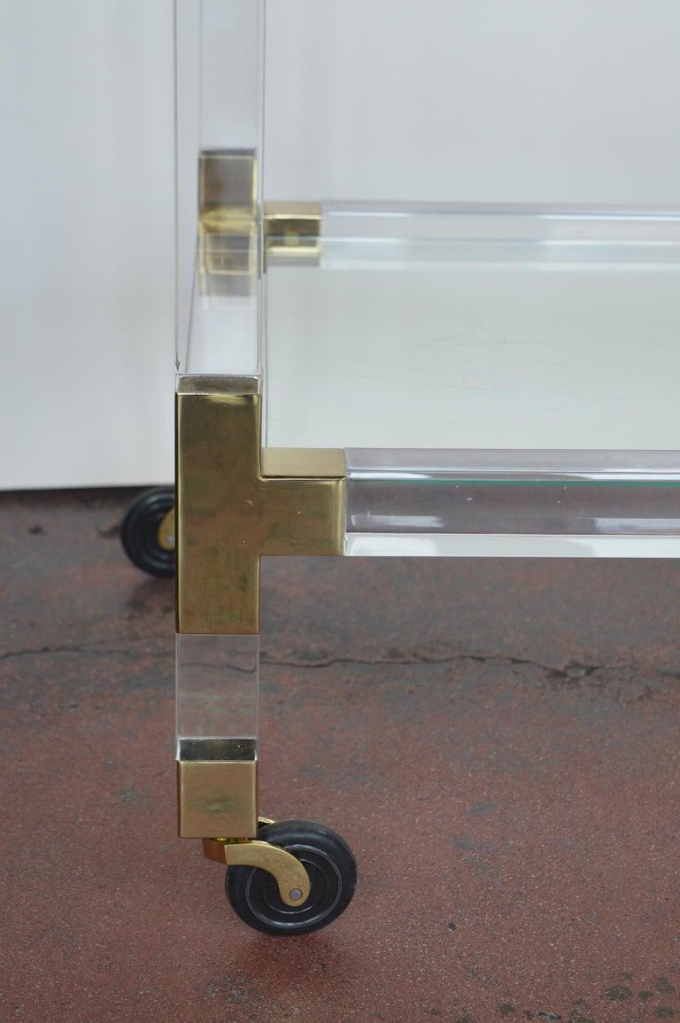 American Charles Hollis Jones Metric Lucite and Brass Bar Cart