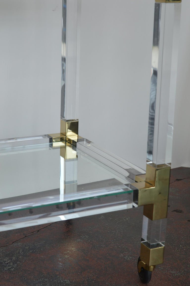 Charles Hollis Jones Metric Lucite and Brass Bar Cart In Excellent Condition In Los Angeles, CA