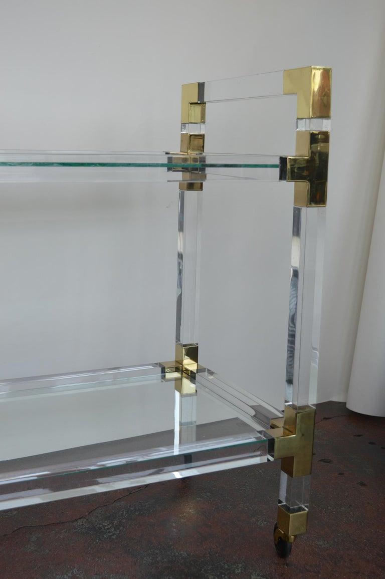 20th Century Charles Hollis Jones Metric Lucite and Brass Bar Cart