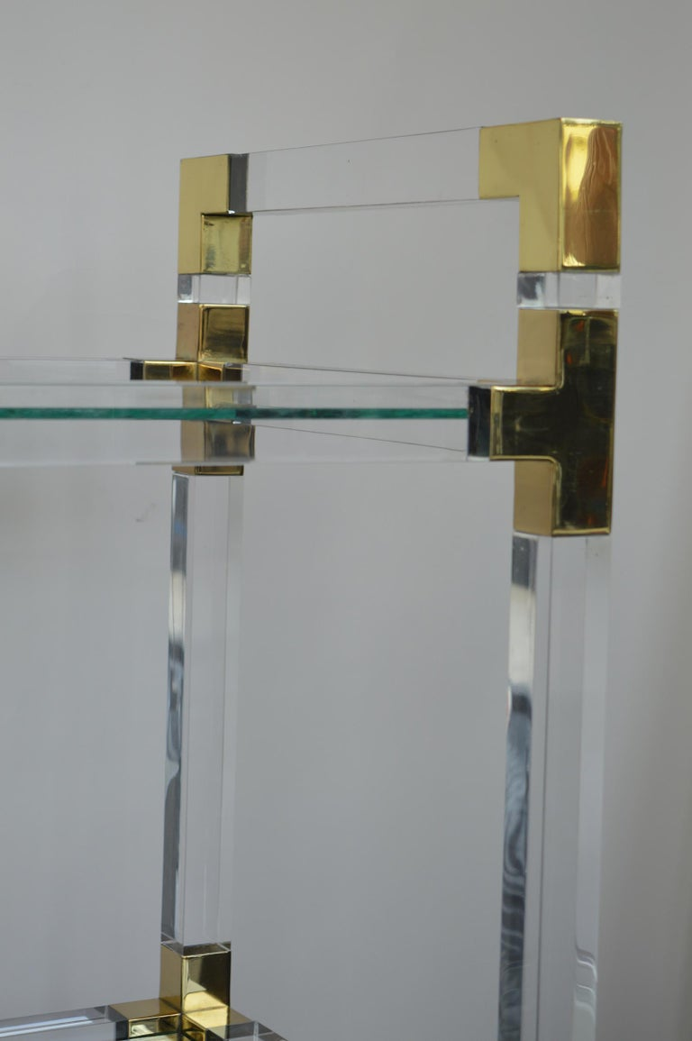 Charles Hollis Jones Metric Lucite and Brass Bar Cart 1