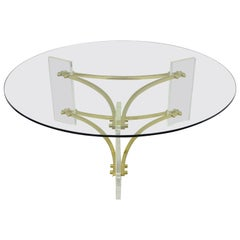 Charles Hollis Jones Mid-Century Modern Brass & Lucite Round Glass Coffee Table