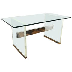 Charles Hollis Jones Mid-Century Modern Lucite Base Desk with Glass Top