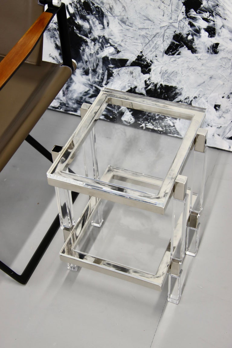 Charles Hollis Jones Nickel and Lucite End Tables For Sale 4