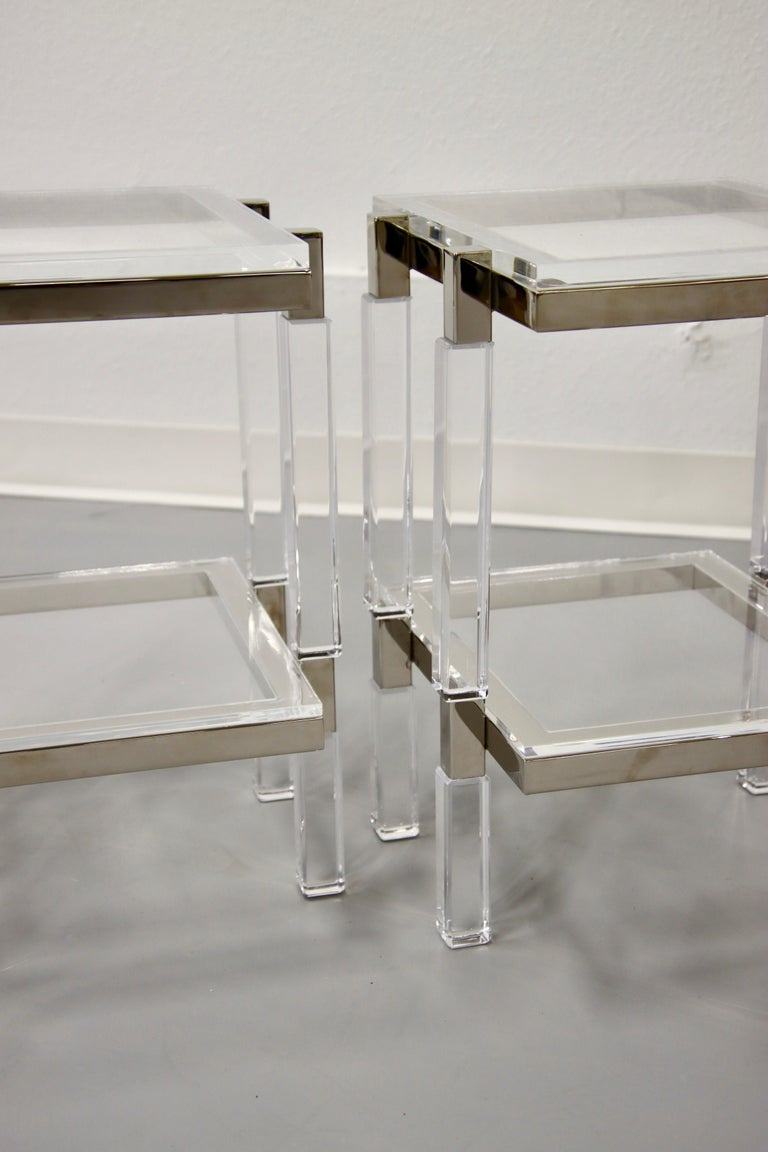 American Charles Hollis Jones Nickel and Lucite End Tables For Sale