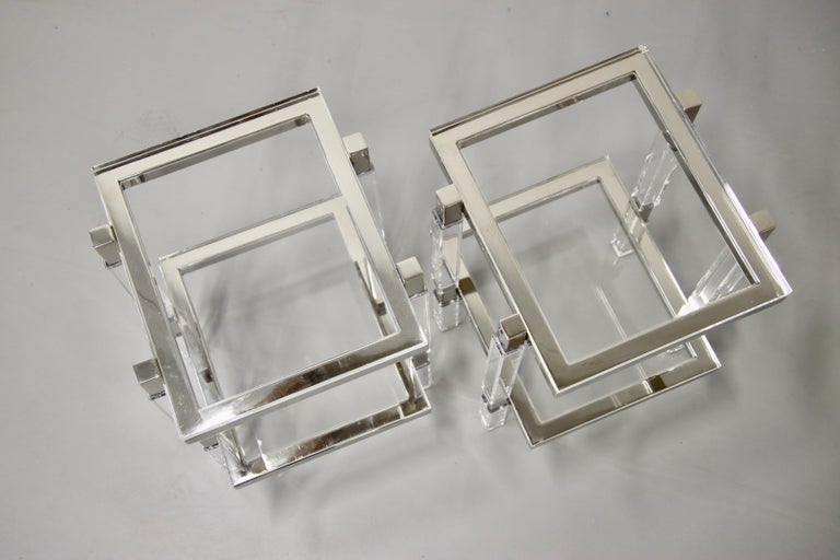 Machine-Made Charles Hollis Jones Nickel and Lucite End Tables For Sale