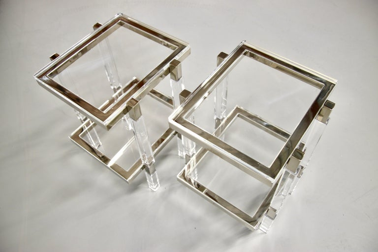 Charles Hollis Jones Nickel and Lucite End Tables In Excellent Condition For Sale In Palm Springs, CA