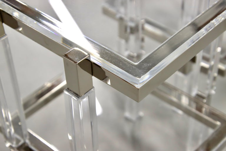 Contemporary Charles Hollis Jones Nickel and Lucite End Tables For Sale