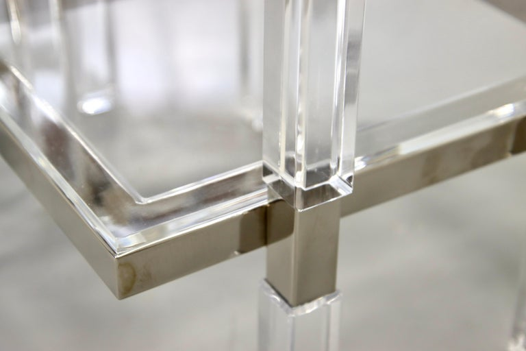 Charles Hollis Jones Nickel and Lucite End Tables For Sale 1