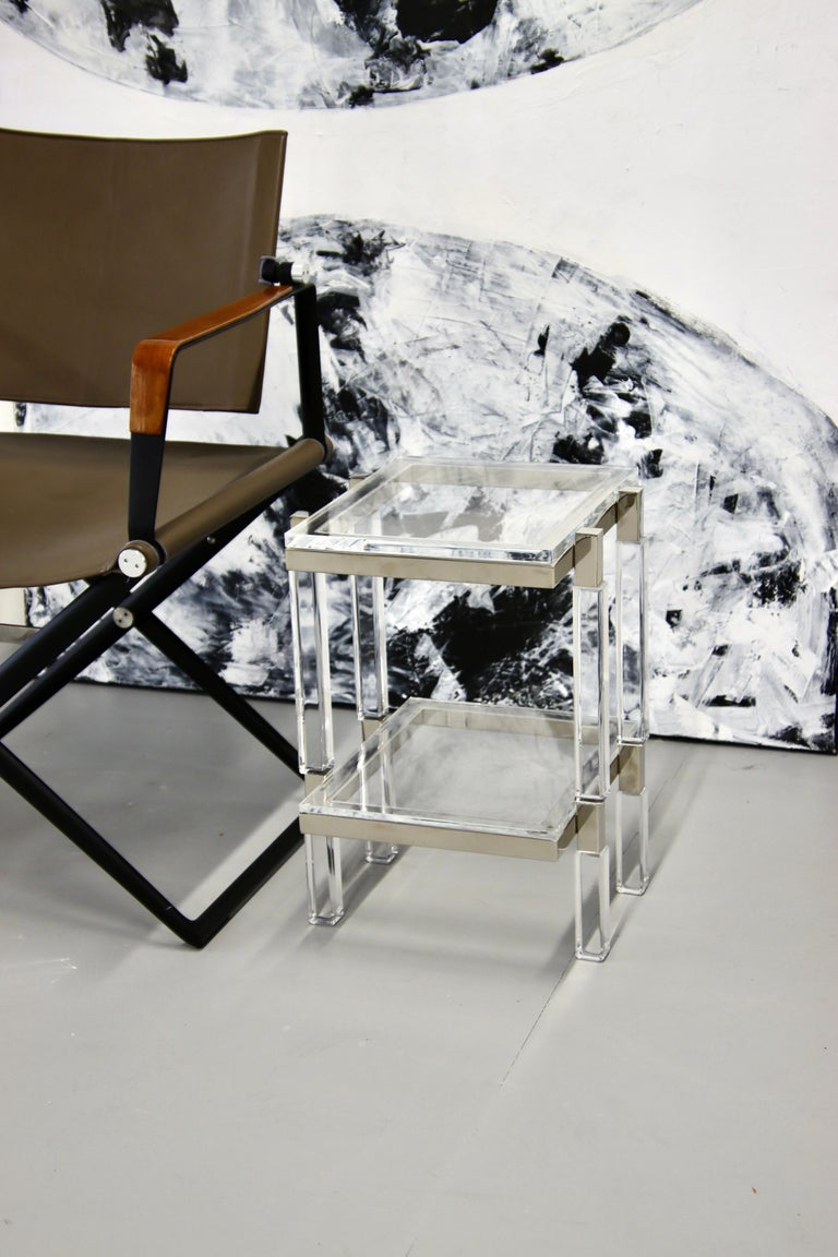 Charles Hollis Jones Nickel and Lucite End Tables For Sale 3
