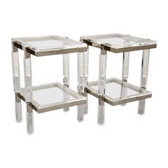 Charles Hollis Jones Nickel and Lucite End Tables