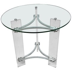 Charles Hollis Jones Round Coffee or Cocktail Table of Lucite, Chrome & Glass