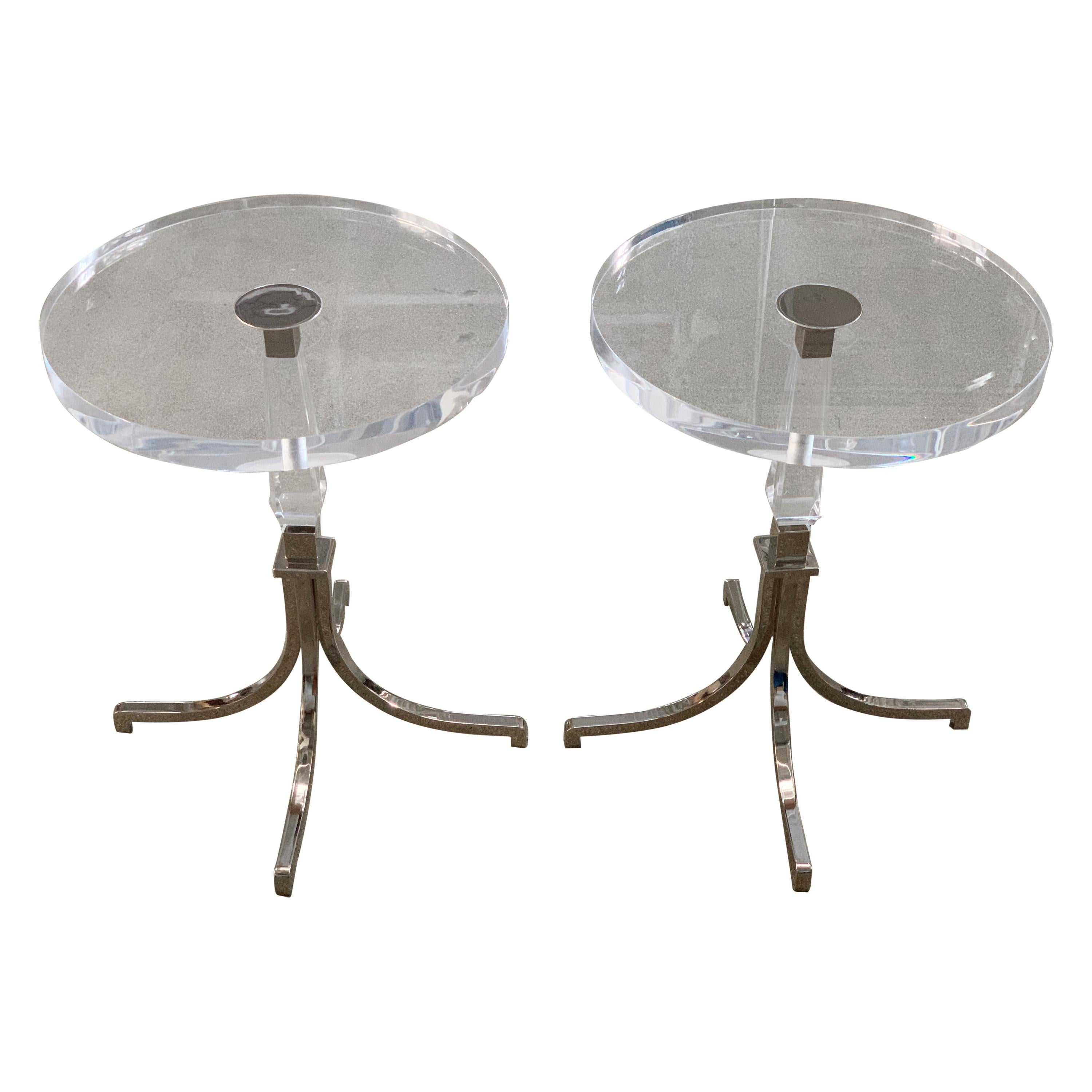 Charles Hollis Jones Side Table in Lucite and Nickel
