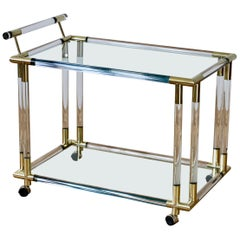 Charles Hollis Jones Style 1970s Lucite and Brass Bar Cart or Serving Trolley