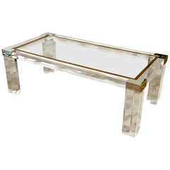 Charles Hollis Jones Style Acrylic / Lucite Brass & Chrome Coffee Table c.1980s