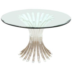 Charles Hollis Jones Style Lucite Base Dining Table with Glass Top