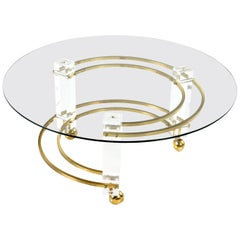 Charles Hollis Jones Style Lucite Brass Coffee Table, Hollywood Regency