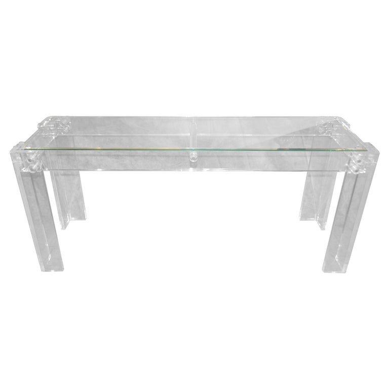 Charles Hollis Jones Style Mid-Century Modern Lucite & Glass Console Sofa Table For Sale