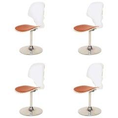 Charles Hollis Jones Style Splashy Modern Lucite Chrome Dining Chair Set of 4