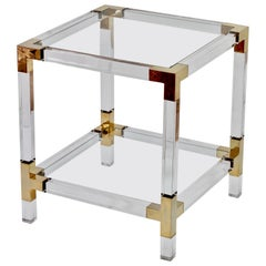 Charles Hollis Jones Style Vintage Acrylic/Lucite Brass Side Table, circa 1980s