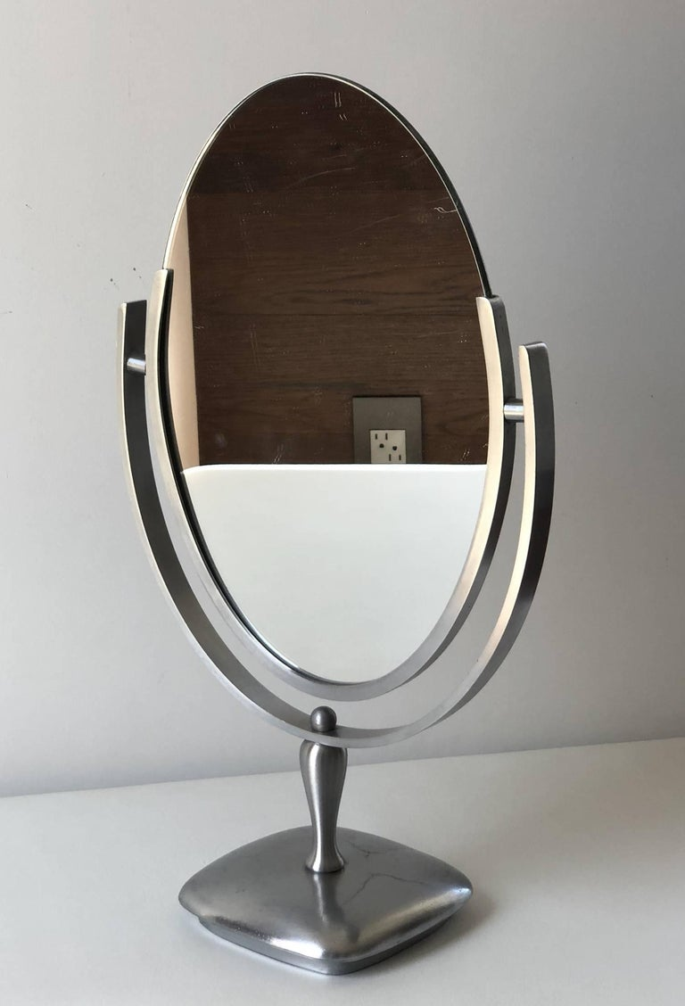 American Charles Hollis Jones Vanity or Table Mirror with a Satin Metal Base For Sale