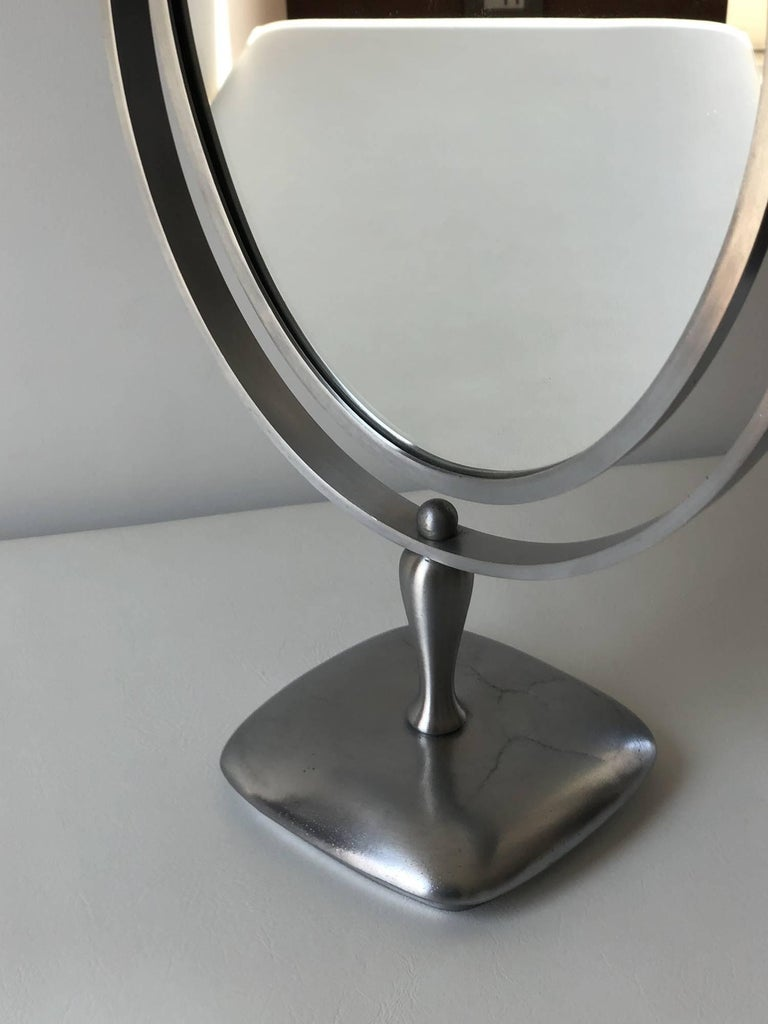 Charles Hollis Jones Vanity or Table Mirror with a Satin Metal Base In Good Condition For Sale In West Hollywood, CA