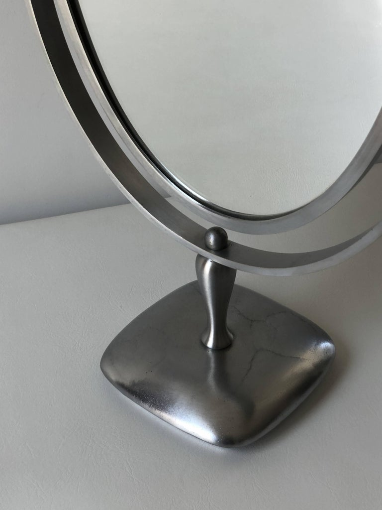 Charles Hollis Jones Vanity or Table Mirror with a Satin Metal Base For Sale 1