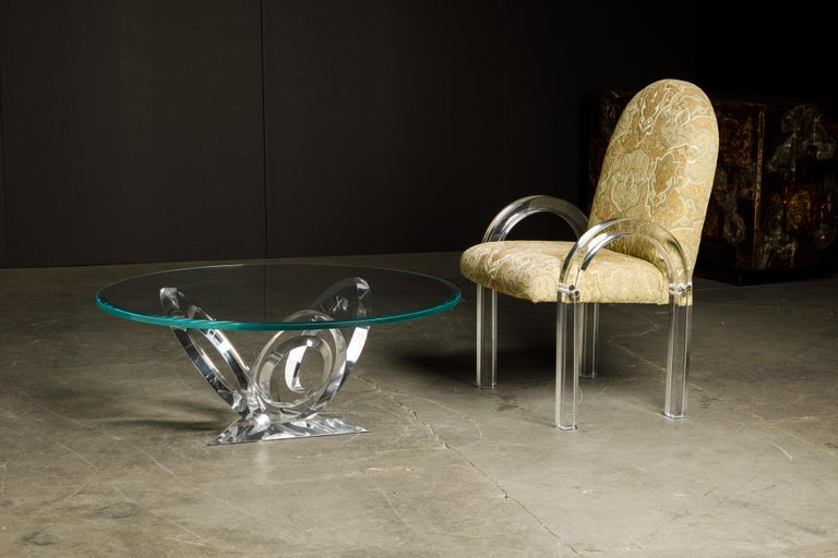 Charles Hollis Jones Waterfall Lucite Dining Chairs, Set of Eight, circa 1970 For Sale 14