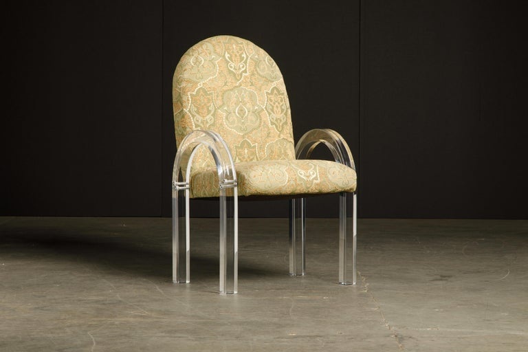 Modern Charles Hollis Jones Waterfall Lucite Dining Chairs, Set of Eight, circa 1970 For Sale