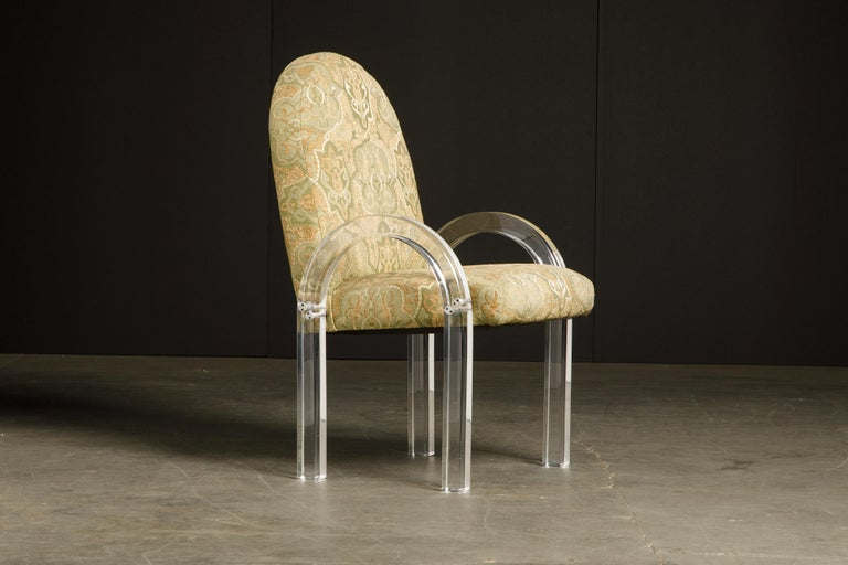 American Charles Hollis Jones Waterfall Lucite Dining Chairs, Set of Eight, circa 1970 For Sale