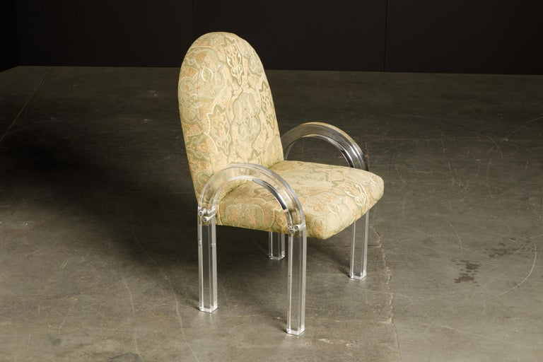 Charles Hollis Jones Waterfall Lucite Dining Chairs, Set of Eight, circa 1970 In Good Condition For Sale In Los Angeles, CA