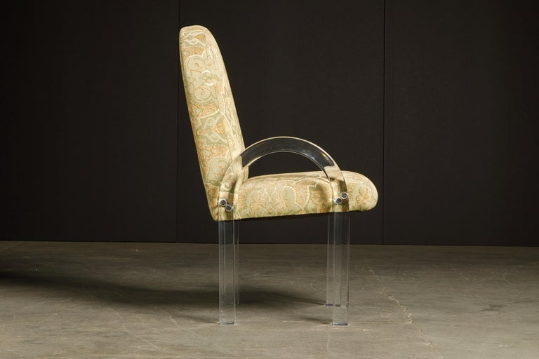 Late 20th Century Charles Hollis Jones Waterfall Lucite Dining Chairs, Set of Eight, circa 1970 For Sale