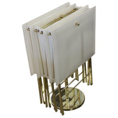 Charles Hollis Jones White Acrylic and Brass Serving Tables with Stand