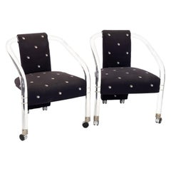 Charles Hollis Style Mid Century Lucite Rolling Lounge Chairs, Set of 2