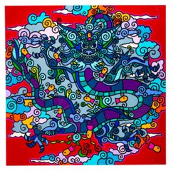 "Charles Houska, ""Asian Folklore"", Acrylic and Resin on Canvas"