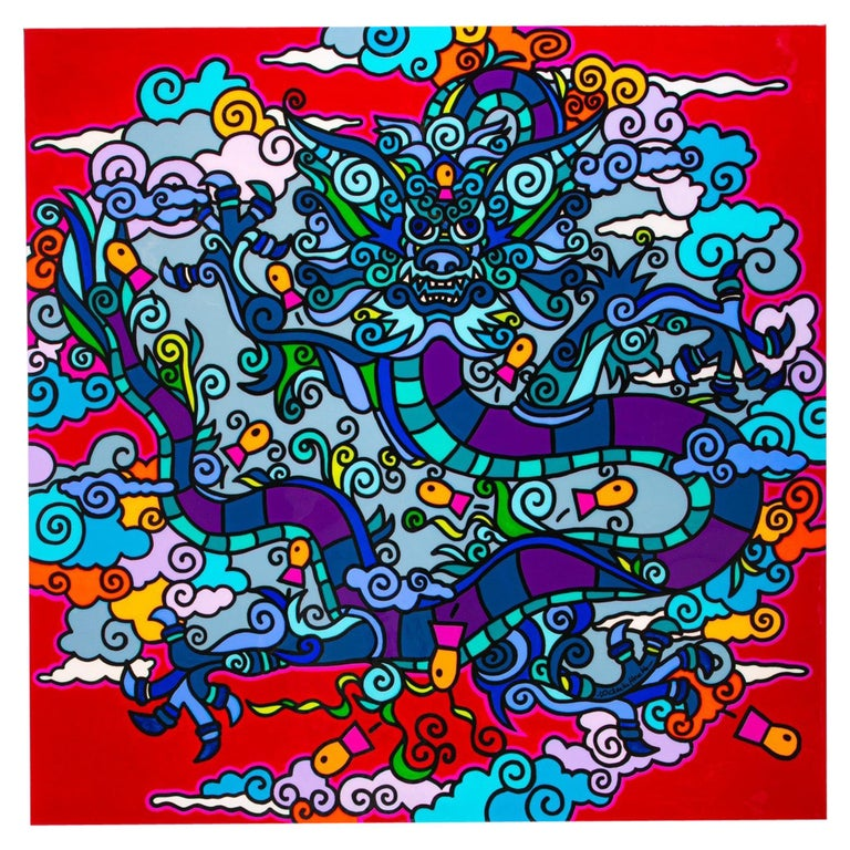 """Charles Houska, """"Asian Folklore"""", Acrylic and Resin on Canvas For Sale"""